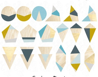 Geometric Clip Art Abstract Shapes with Wood Grain and Colorblock Accents