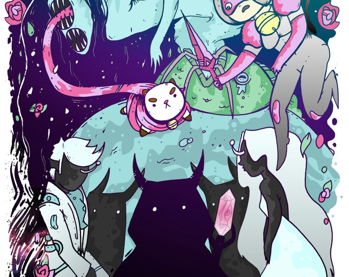 Bee and PuppyCat Fan Art Poster Print / archival, drawing, painting adventure time