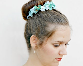 ARIEL - glittery Bun Belt, flower crown for your hair bun, floral crown, turquoise blue gold glitter, wedding hair accessories, whimsical