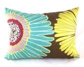 CLEARANCE SALE Lumbar Pillow Decorative Pillow Cover Brown Pillow Aqua Pillow Duralee Aurora Chocolate