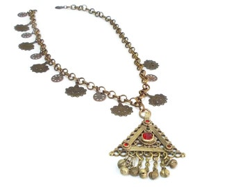 Unique Ruby Stones Unique Afghan Silver Kuchi Pendant Jewelery, Triangle-Shaped Mystic Necklace, Vintage Afghani Tribal Antique Ethnic