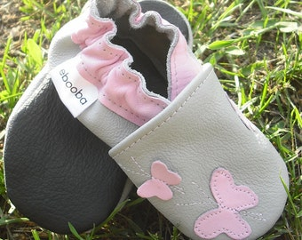 soft sole baby shoes handmade infant gift butterfly pink gray 6-12 bebe fille cuir souple chaussons Krabbelschuhe porter ebooba BF-34-G-M-2