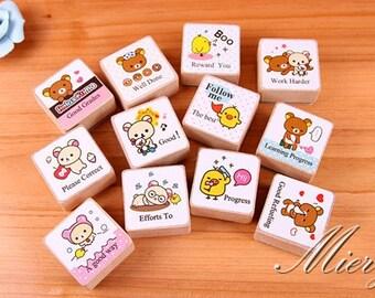 12 Pcs English Rubber Stamps  - Korean Stamp -  Deco Stamp - Wood  Stamp - Cartoon Stamp