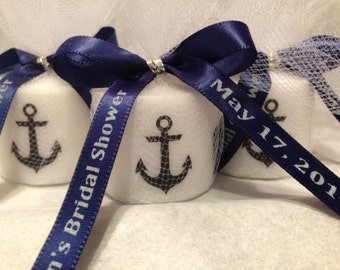 30 Nautical Baby Shower, Bridal Shower Favors,Nautical Themed Party favors, Anchor Votive  Candle, With Personalized Ribbon
