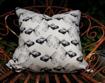 Great graphic statement cushion pillow in quality Japanese cotton. Koi goldfish in black and cream with black piping, cream backing. 50x50cm