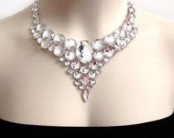 crystal bib necklace - crystal clear rhinestone bib necklace