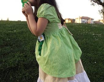 Princess Tiana Inspired dress,Princess Dress, Tiana Costume, Disney Inspired, Christmas,Costume, Dress Up, Every Day Play Wear, Handmade