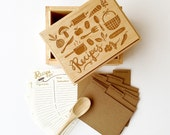 Heirloom Recipe Box maple and walnut handmade box laser engraved with illustration includes gold foil recipe cards and dividers - littlelow