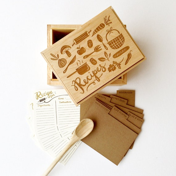 The Foodie Heirloom Recipe Box - maple and walnut wooden handmade box illustrated laser engraved top with recipe cards and dividers