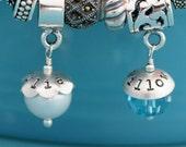 Hand Stamped Charm for European Bracelet, Personalized Charm Bead for Mom, Birthstone Bracelet Charm w/ Custom Name, Mother Bracelet Charm