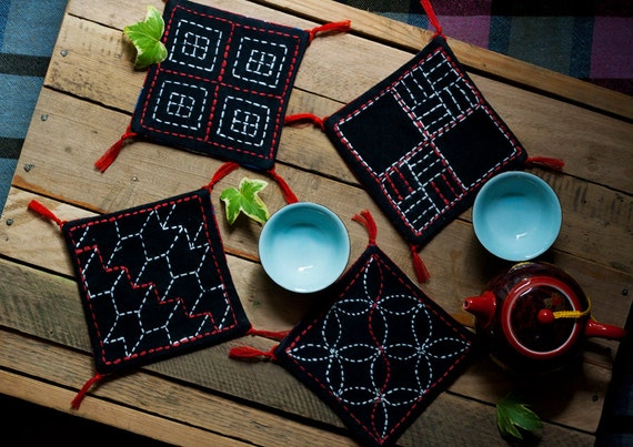 Black cotton sashiko coasters set of 4, traditional japanese embroidery, tribal handmade craft, fabric houseware