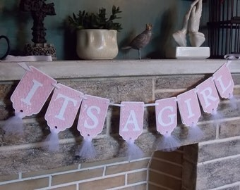It's A Girl Banner in Pink and White Baby Shower Decoration Baby Girl Shower Banner, Pink and White Banner, Birth Announcement
