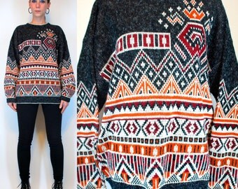 Vintage 80s SOUTHWESTERN Aztec Indian Blanket Oversized Sweater. Hipster Cardigan. boho Navajo Hippie unisex Outerwear. Extra Small - Medium