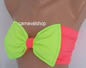 PADDED Bow Bikini Neon Green and Neon Pink  Swimwear Bikini Top Swimsuit-swimwear-bow bandeau