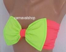 Bow Bikini Top Neon Green and Neon Pink  Swimwear Bikini Top Swimsuit-swimwear-bow bandeau