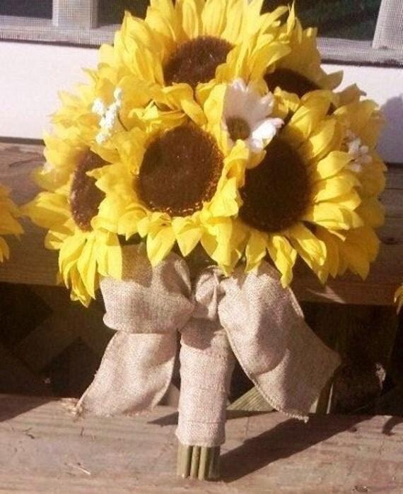 Sunflower Wedding Bouquet Ideas: Items Similar To Sunflower Bouquet, Burlap Bouquet, Rustic