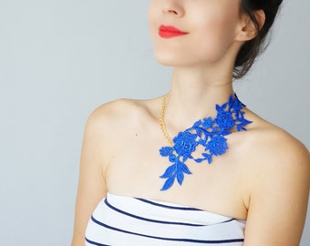 4th July Summer Party Summer Outdoors  Royal Blue Necklace Lace Necklace Statement Necklace / LASATA