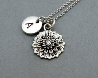 Chrysanthemum necklace, flower charm, Chrysanthemum flower, antique silver, initial necklace, hand stamped, personalized, monogram