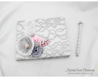 Wedding Lace Guest Book Pen Set Birthday Book Custom Bridal Flower Brooch Guest Books in White, Silver Gray and Pink