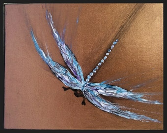 Dragonfly Painting Original Dragonfly Palette Knife Modern Dragonfly Art 12x12 Acrylic Canvas Dragonfly Art made to order | by jillsfineart