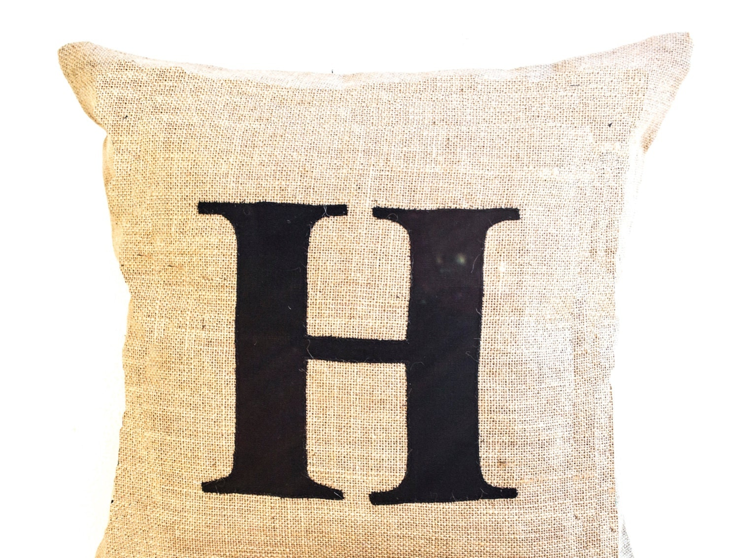 Burlap Throw Pillow with Monogram Personalized by AmoreBeaute