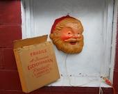 VINTAGE Santa Claus Lighted Face. Illuminated Santa Face Christmas Decoration. L.A. Goodman. IOB. Box