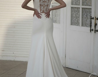 Ivory Crepe Open Back Wedding Dress with Train, Simple Wedding Dress with Handmade Embellishments L12, Beach Wedding Dress, Unique Wedding