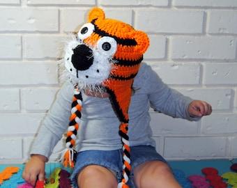 Crochet Tiger Hat, Knit Animal Hat, Crochet Baby Hat, Toddler Winter Hat, Orange Black White, Hat with Ears, Girls crochet Hat, Boys Hat