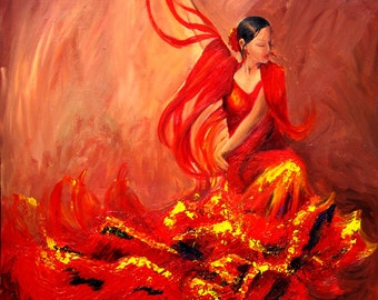 Flamenco painting , Flamenco dancer in red dress, Limited edition fine art print on canvas,  highlights painted with pallet knife