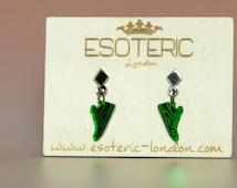 Bronze and Green Mirror Perspex Dangle Stud Sneaker Earrings