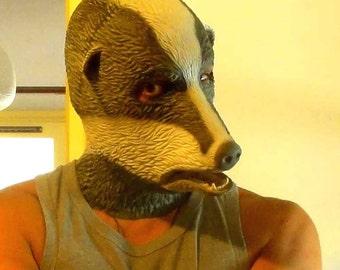 Full Head Latex Badger Mask Hood
