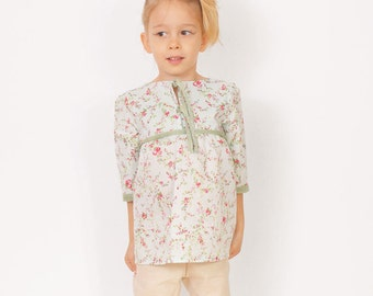 Floral toddler TUNIC pattern pdf - easy children sewing patterns - sizes from 3 to 8 years