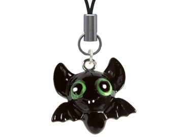 3-D Hand Painted Resin Bat Mobile Phone Charm, Qty 1