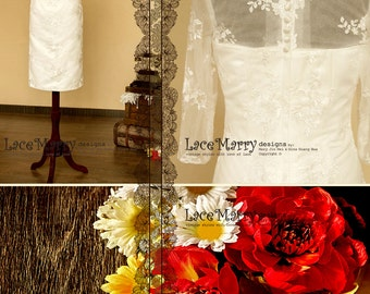 Short Lace Wedding Dress with Sleeves and Illusion Neckline, Features Full Lace Back with Button Design