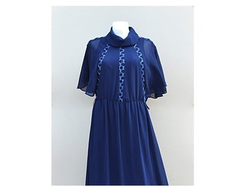 Vintage evening gown, evening gown with sleeves, Indigo formal dress