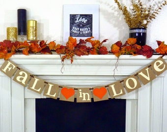 "Wedding Banner- ""Fall In Love"" Banner - Bridal Shower Decorations - Wedding Garland - Sign - Photo Prop - Fall in Love Couples Shower"