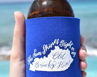 My Old Kentucky Home Can Cooler Beer Cozy in Blue