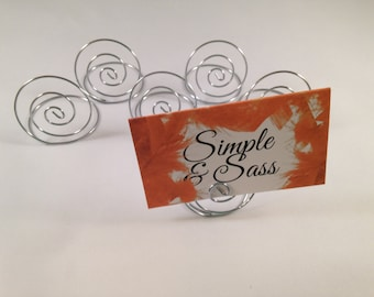Silver wire table number holder place card holder with swirl design (set of 6)
