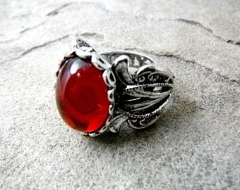 Silver Victorian Ring, Red Cabochon Ring, Antique Victorian Ring, Silver Filigree Ring, Victorian Statement Ring, Red Ring, Silver Ring