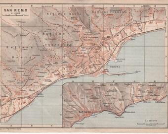 1928 San Remo, Italy, Antique Map, Sanremo, Italia, Mediterranean Coast, Western Liguria, Northern Italy, Italian Riviera, Città di Sanremo
