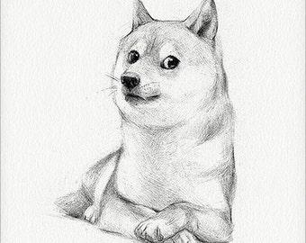 "Doge - 5 x 7"" print (doge drawing, many art, so artwork, such internet, much shiba inu, very shibe, such decor, wow)"