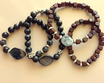 Wooden Beaded Bracelets With Abalone