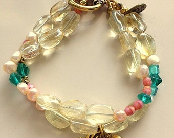 "Light Citrine, Freshwater Pearls and Czech Glass Beads Charm Bracelet ""Live"" Hamsa Charms - Double Strand"