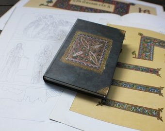 """SMALL hand bound journal, handmade notebook, personal diary,  Byzantine journal diary with a touch of subtle blue: """"Longing"""""""