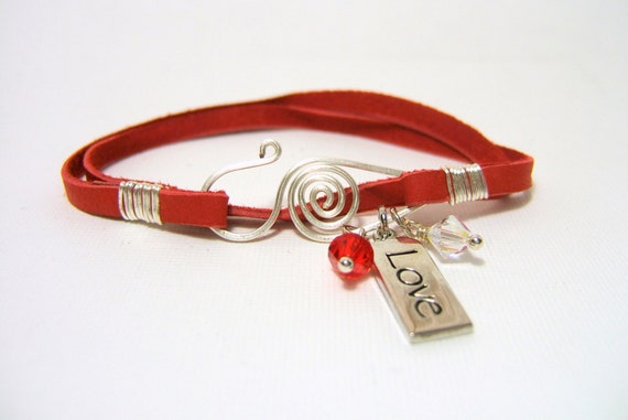 Sale Red Deerskin Leather Wrap Bracelet Silver Love Charm Red