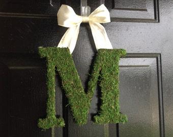 "13 1/2"" Moss Covered Monogram.Moss letter. Personalized wreath,wedding gift,summer decor,door monogram."