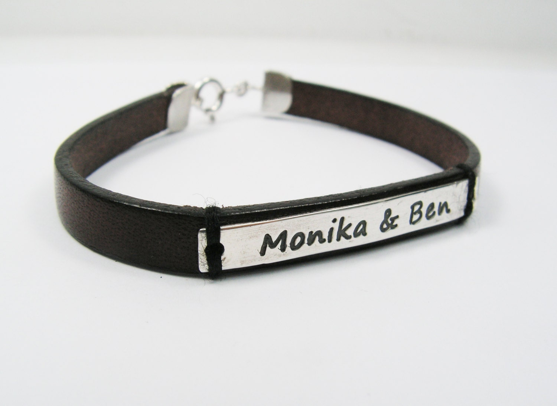 name leather bracelet personalized bracelet by monogramland