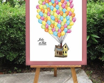 Disney's Up - Wedding Guest Book Alternative - Balloons Sign In Guestbook Registry Poster Board