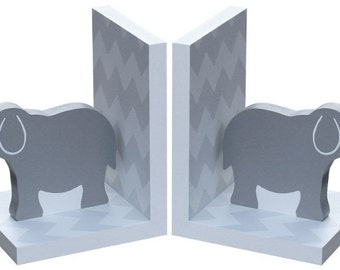 Wooden Chevron Elephant Bookends in Grey