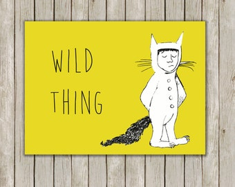 8x10 Where The Wild Things Are Print, Wild Thing Max Typography Art, Nursery Wall Art Printable, Nursery Decor, Instant Digital Download